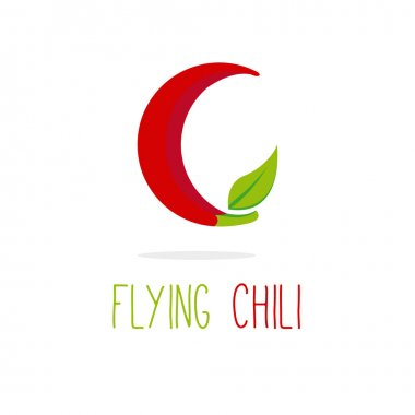 Vector C letter flying chili logotype