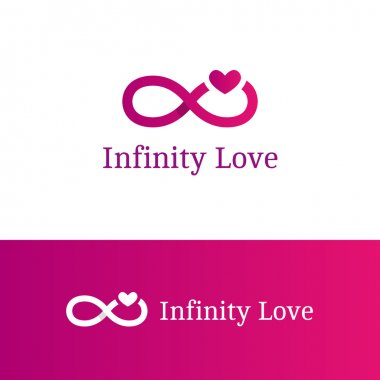 Vector infinity sign with heart logotype. Modern romantic logo in overlapping technique