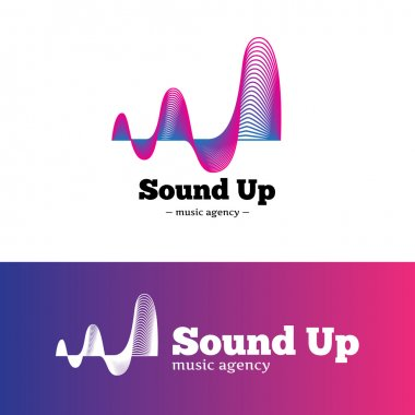 Vector abstract music logotype. Gradient blue and violet logo.