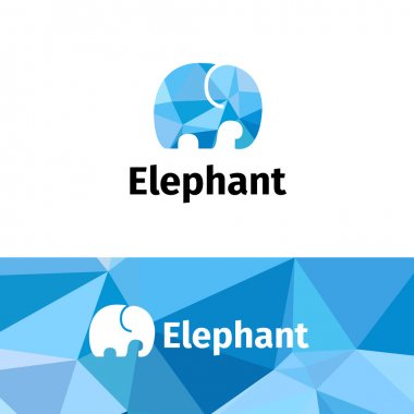Vector polygonal minimalistic elephant logo. Low poly logotype