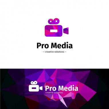 Vector low poly camera logo. Media business violet logotype with geometric background