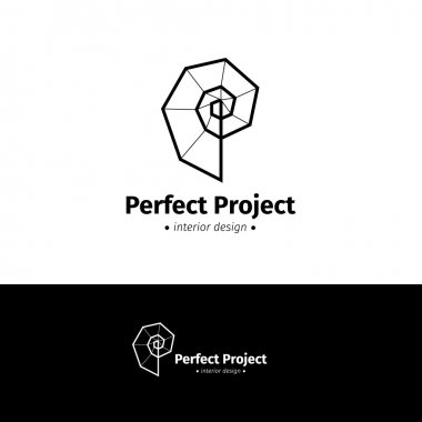 Vector minimalistic interior design logo. Black and white creative spiral logotype