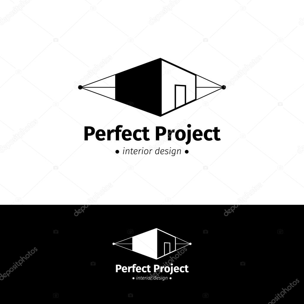 Vector minimalistic house design logo. Black and white interior logotype