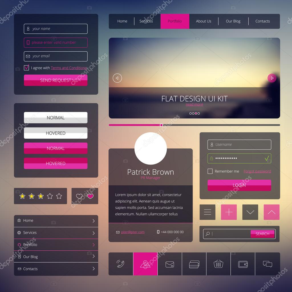 Vector set of web elements in flat style. Trendy website design. UI kit with icons and modern blurred background.