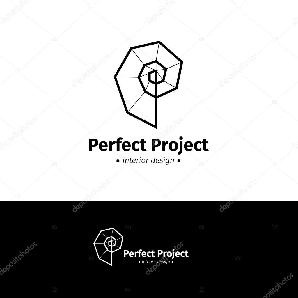 Vector minimalistic interior design logo. Black and white ...