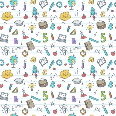 Vector hand drawn study accessories seamless pattern. Cute back to school colorful background