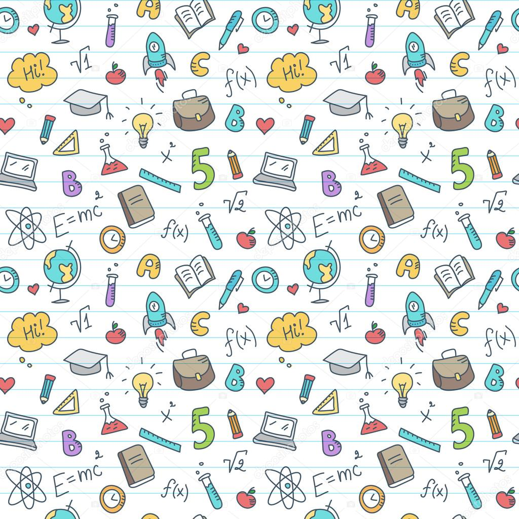 Vector hand drawn study accessories seamless pattern. Cute ...