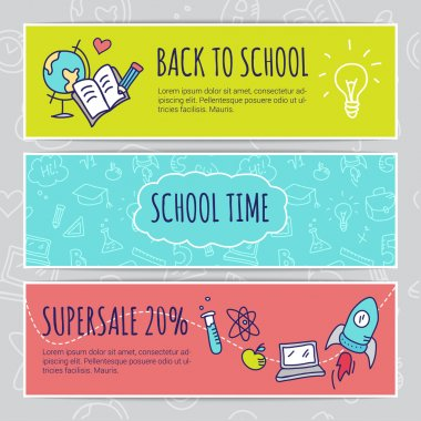 Vector education concept with hand drawn elements. Cute back to school sale colorful banners