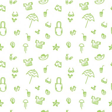 Vector hand drawn summer seamless pattern. Green and yellow vacation background