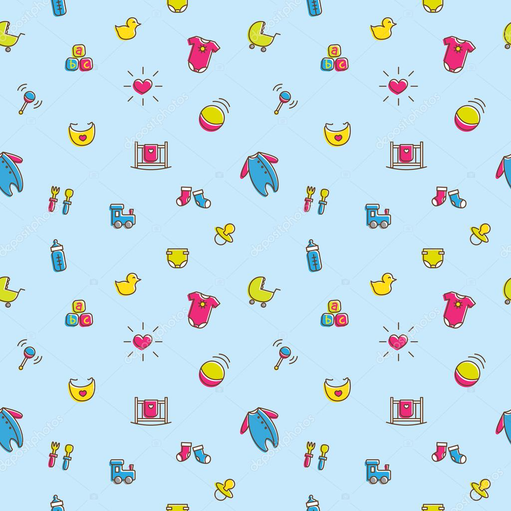 vector colorful baby and pregnancy seamless pattern in