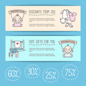 Vector baby goods sale posters. Kids store discount banners.
