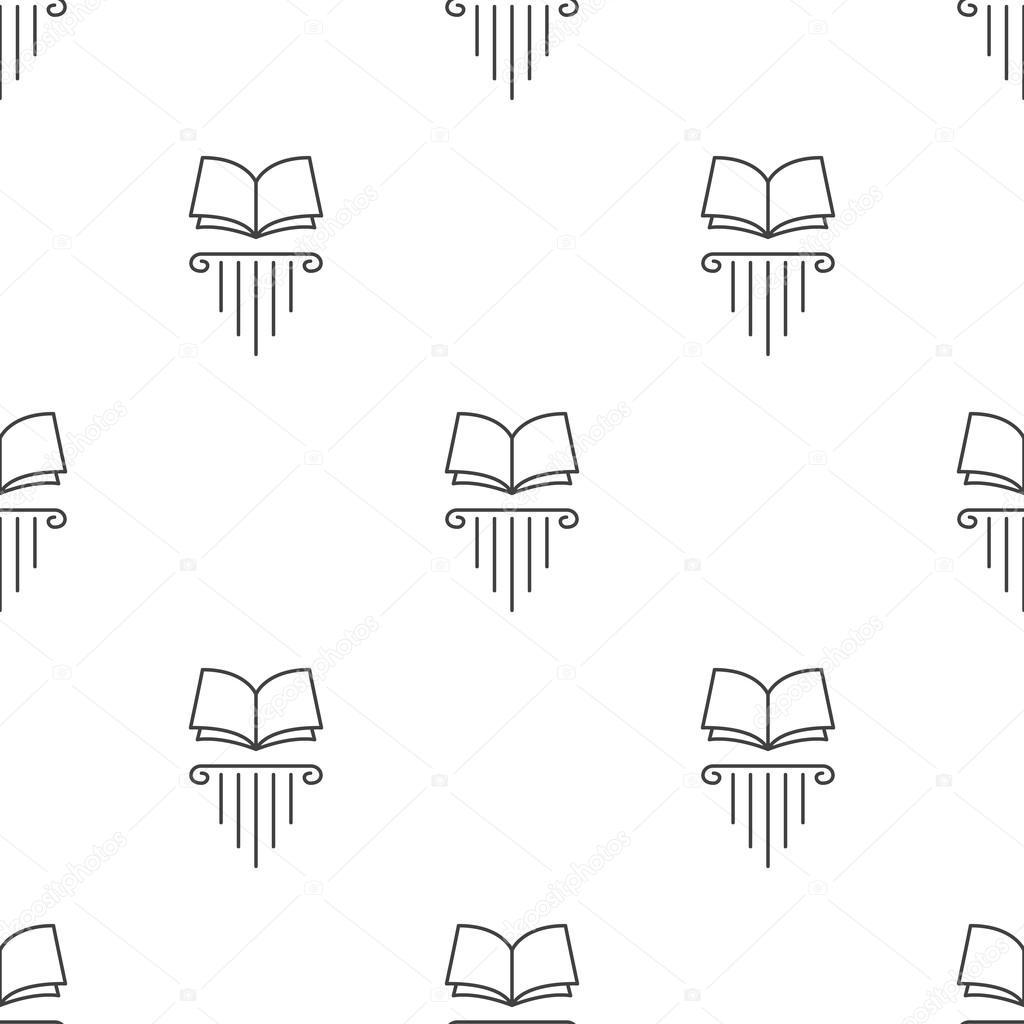 Vector line style open book on greek column seamless pattern
