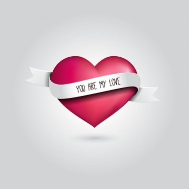Vector pink heart with silver ribbon and love quotation. Love design concept