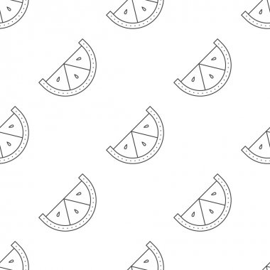 Vector line style seamless pattern. Minimalistic lemon slice repeating background.