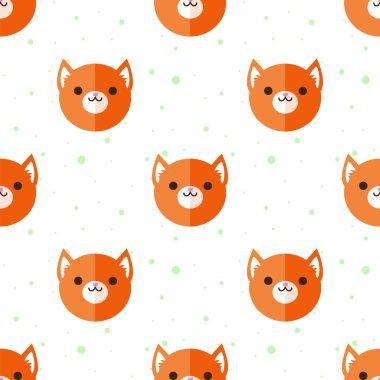 Vector flat cartoon fox heads seamless pattern. Animal background.