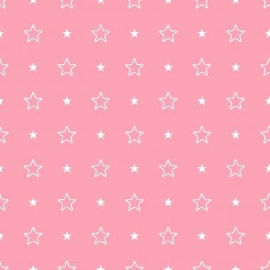 Vector geometric pink seamless pattern. Stars simple background