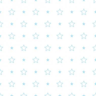 Vector geometric blue seamless pattern. Stars simple background