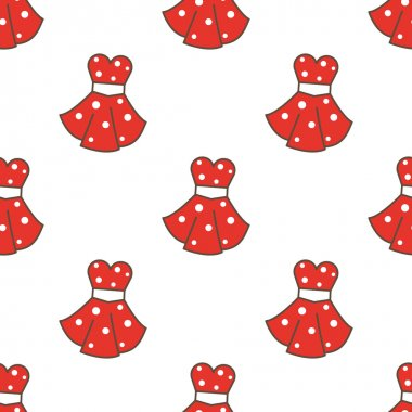 Vector retro style dresses seamless pattern. Fashion cute background