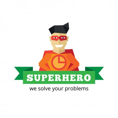 Vector flat super hero logotype. Cartoon style mascot logo.