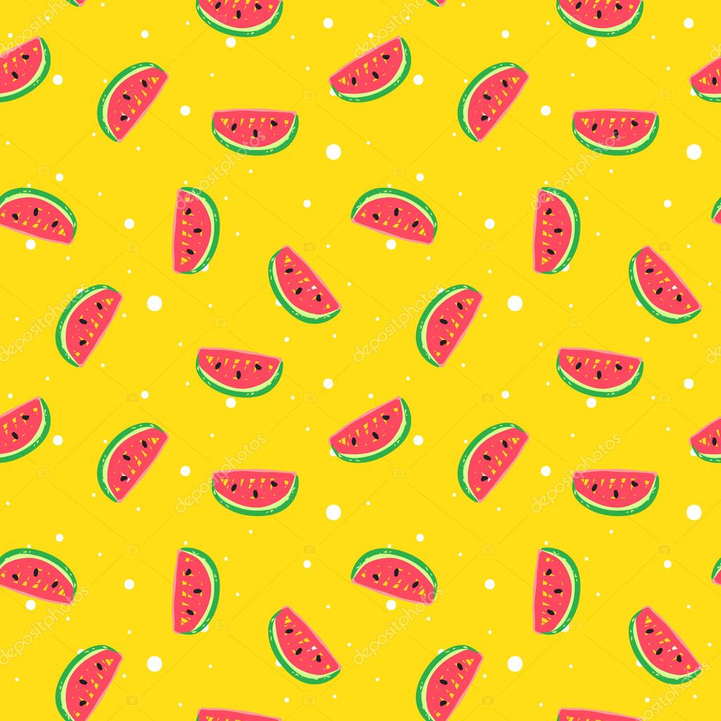 Vector funny seamless pattern in trendy hand drawn doodle style. Cute simple watermelon background with dots.
