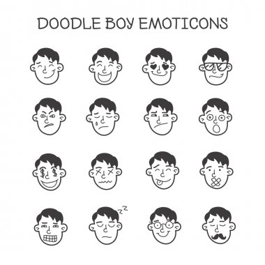 Vector cute doodle boy heads set. Emoticons collection.