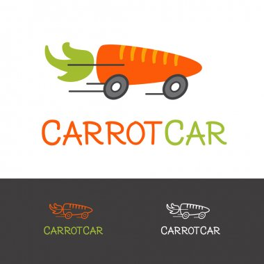 Vector bright carrot logotype. Healthy food delivery logo concept.