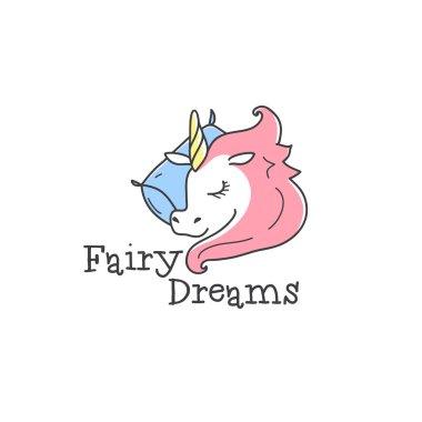 Vector cute little unicorn logo. Cartoon sleeping unicorn logotype. Bed-clothes store sign clip art vector