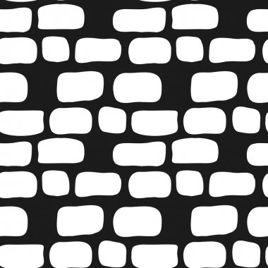 Vector hand drawn simple brick wall seamless pattern. Doodle style background.