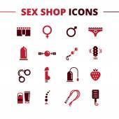 Photo Vector sex shop icons set. Trendy two color line style love symbols