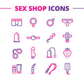 Photo Vector sex shop icons set. Trendy two color line style love symbols