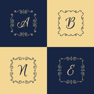 Vector elegant monogram logo. Trendy thin letter logotype