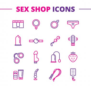 Vector sex shop icons set. Trendy two color line style love symbols