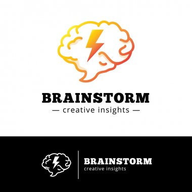 Vector brain with lightning logo concept. Creative gradient brainstorming logotype