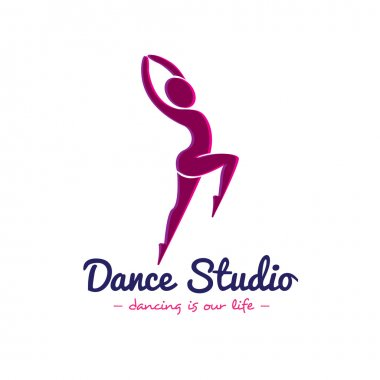 Vector dance studio logo. Dancer logotype