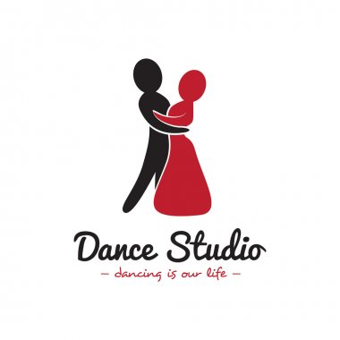 Vector dance studio logo. Dancing couple logotype