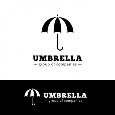 Vector minimalistic black umbrella logo. Simple logotype