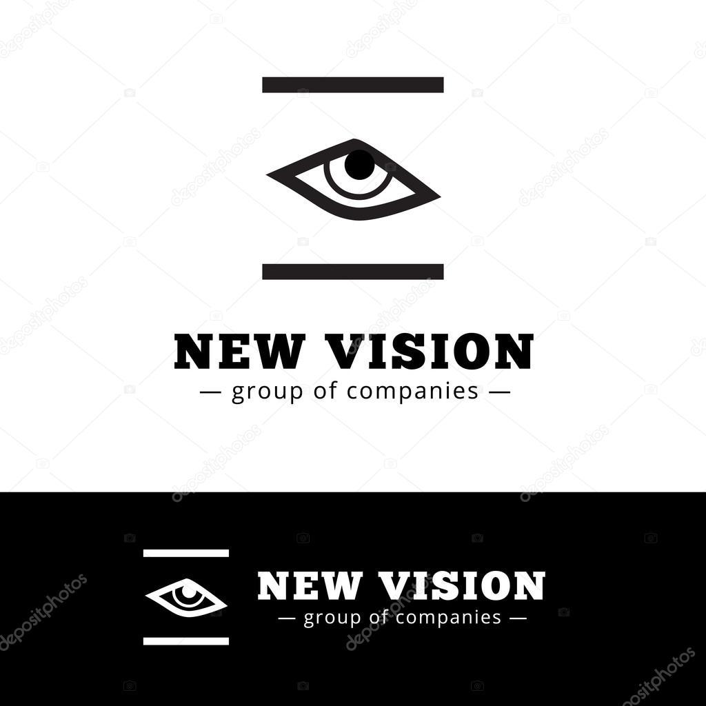 Vector minimalistic black and white eye logo. Eye logotype.