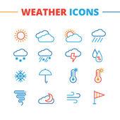 Fotografie Trendige Wettersymbole Vektor festgelegt. Minimalistische Linie Stil Symbole Sammlung