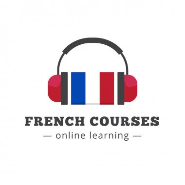 Vector french courses logo concept with flag and headphones