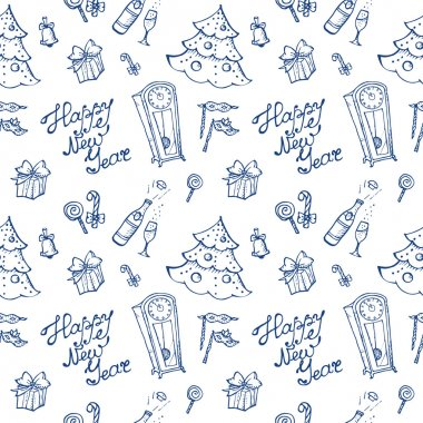Vector doodle New Year elements seamless pattern in sketch style