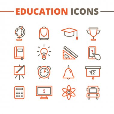 Vector trendy school icons set. Minimalistic line style symbols collection