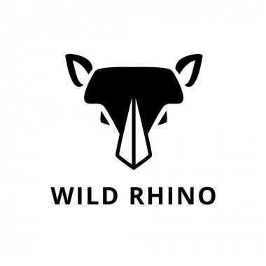 Vector minimalistic flat rhino head logo