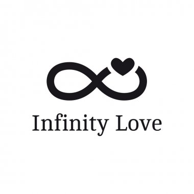 Vector trendy infinity sign with heart logotype. Modern romantic logo