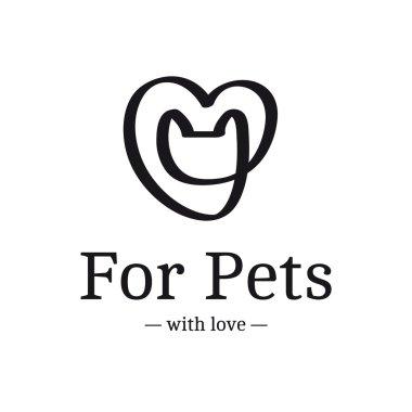 Vector modern black ribbon logo. Cat head in the heart logotype.