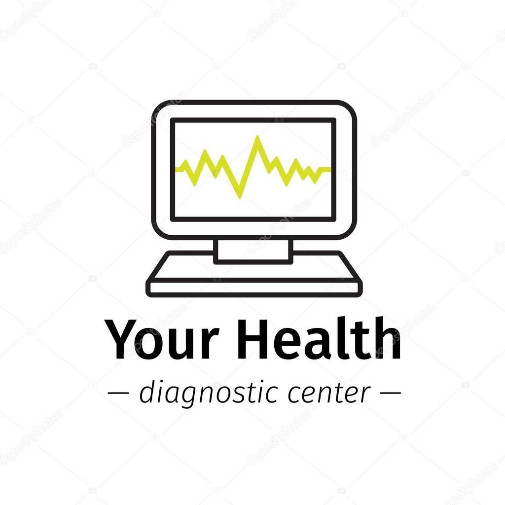 Вектор модные линии стиль медицинский центр логотип. Диагностические  логотип. Компьютер с кардиограмма на экране символ– Векторная картинка 60351cca2ed1c