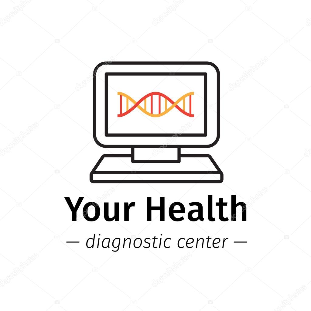 Vector trendy line style medical center logo diagnostic logotype vector line style medical center logo dna diagnostic logotype computer with dna on screen symbol vector by stacyt biocorpaavc