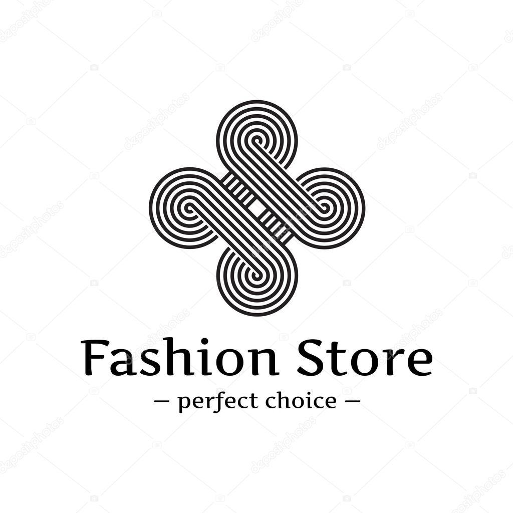 Conhecido Logo em laço elegante na moda de vector. Resumo logotipo listrado  YR43