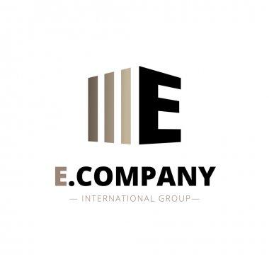 Vector modern isometric E letter logo. Brand sign stock vector