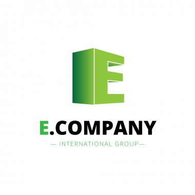 Vector isometric gradient E letter logo. Company sign
