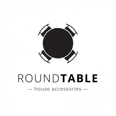 Vector minimalistic black round table with chairs logo.